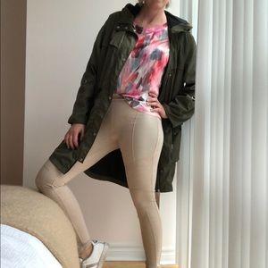 Beige Cotton Leggings Side Leather Panels